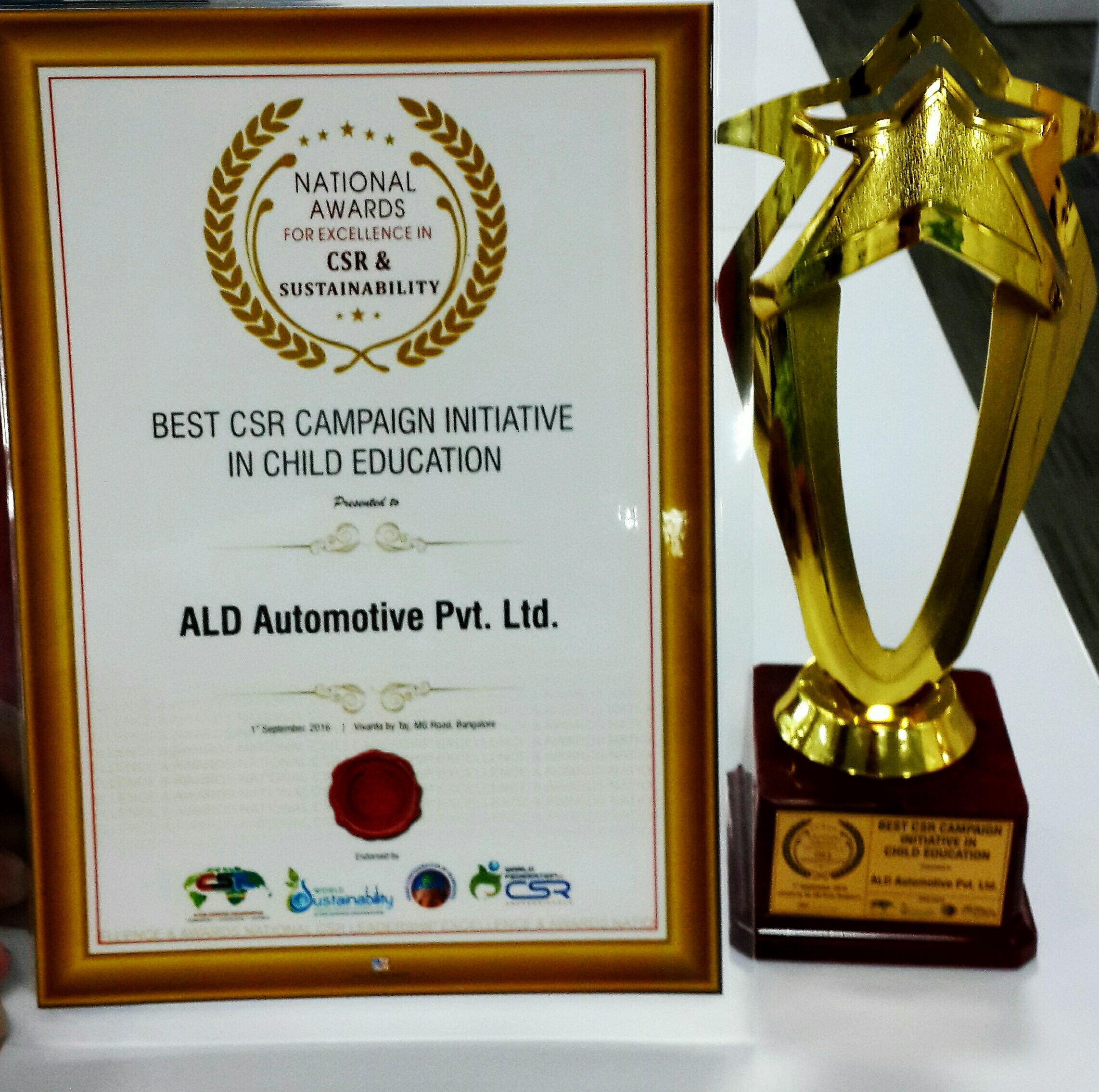 ALD Automotive received 'Best CSR Impact Initiative in Child Education' award